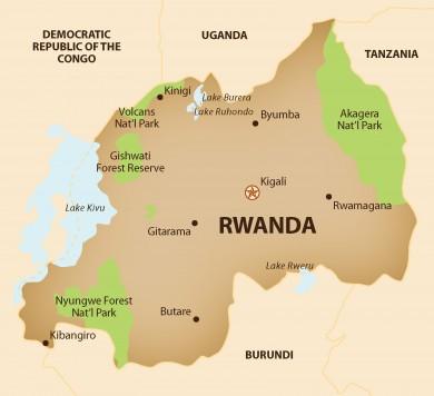 Rwanda Tourists Map